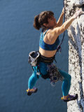 Female Rock Climber Reaching for a Grip, New Paltz, New York, USA Photographic Print