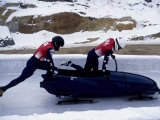 Two Man Bobsled Team Pushing Off at the Start , Lake placid, New York, USA Photographic Print by Paul Sutton