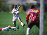 Soccer Playersshooting on Goal Photographic Print