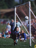 11 Year Old Boys Soccer Goalie in Action Photographic Print