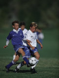 11 Year Old Boys Soccer Action Photographic Print