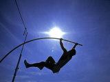 Silhouette of Male Pole Vaulter Papier Photo par Steven Sutton
