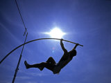 Silhouette of Male Pole Vaulter Photographic Print by Steven Sutton