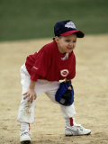 Young Boyat Short Stop During a Tee Ball Game Photographic Print