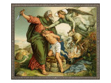 Believing he is fulfilling God's commandment Abraham tries to sacrifice Isaac instead of a ram Lámina giclée