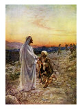 Jesus heals lepers whilst passing through Samaria, of which only one turns to give thanks Giclee Print