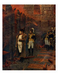 Napoleon Bonaparte at the Moscow Kremlin, Russia, watching the great Fire of Moscow, September 1812 Giclée-Druck von Vasily Vereshchagin