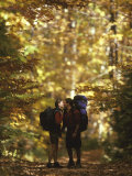 Couple Kissing on the Trail During a Hike, Woodstock, New York, USA Photographic Print by Chris Cole