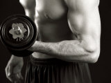 Man Working Out with Hand Wieghts, New York, New York, USA Photographic Print by Chris Trotman