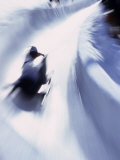Blurred Action of Bobsled, Park City , Utah, USA Photographic Print by Chris Trotman