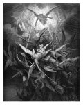 Paradise Lost, by John Milton: the rebel angels are cast out of heaven Reproduction procédé giclée par Gustave Doré