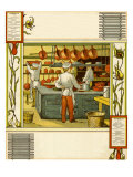 Chefs in French hotel kitchen in Caen, France in late 19th century Giclee Print by Thomas Crane