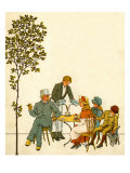 Caf&#233; outside park in Paris in late 19th century with waiter serving coffee Giclee Print by Thomas Crane