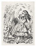 Alice returning from Wonderland, surrounded by cards and animals Giclee Print by John Tenniel