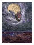 The Surprising Adventures of Baron Munchausen: Voyage to the moon Reproduction procédé giclée par Gustave Doré