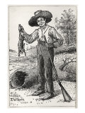 Huck Finn holding gun and hare, hunting Giclee Print by Edward Windsor Kemble