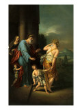 Abraham sending away Hagar and Ishmael as requested by his wife Sarah Lámina giclée por Adriaan van der Werff