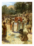 The Israelite Priests holding the Ark in the passage of the Jordan River Giclee Print by William Brassey Hole