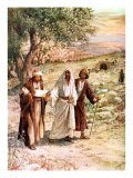 Two disciples walk with the risen Jesus on the road to Emmaus, unaware who he is Giclee Print by William Brassey Hole
