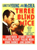 Three Blind Mice, Joel Mccrea, Loretta Young on Window Card, 1938 Prints