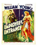 Employees&#39; Entrance, Warren William, Loretta Young on Window Card, 1933 Photographie