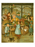 Paris market in late 19th century Giclee Print by Thomas Crane