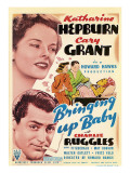 Bringing Up Baby, Katharine Hepburn, Cary Grant on Midget Window Card, 1938 Photo