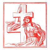 Czech caricature of female personification of Slovakia holding a cross Reproduction procédé giclée par William Hole