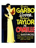 Camille, Robert Taylor, Greta Garbo on Window Card, 1936 Photo