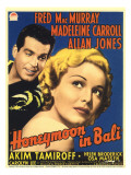 Honeymoon in Bali, Fred Macmurray, Madeleine Carroll on Midget Window Card, 1939 Fotografía