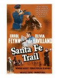 Santa Fe Trail, Errol Flynn, (Poster), 1940 Prints