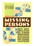Bureau of Missing Persons, Midget Window Card, 1933 Prints