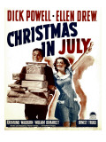 Christmas in July, Dick Powell, Ellen Drew on Window Card, 1940 Plakater