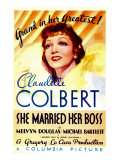 She Married Her Boss, Claudette Colbert on Midget Window Card, 1935 Photo