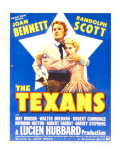 The Texans, Randolph Scott, Joan Bennett on Window Card, 1938 Posters