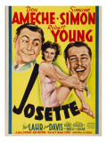 Josette, Robert Young, Simone Simon, Don Ameche on Midget Window Card, 1938 Photo