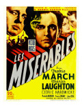 Les Miserables, Charles Laughton, Fredric March on Window Card, 1935 Affiche
