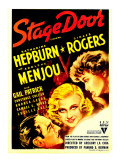 Stage Door, Adolphe Menjou, Ginger Rogers, Katharine Hepburn on Midget Window Card, 1937 Photo