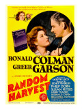 Random Harvest, Greer Garson, Ronald Colman on Midget Window Card, 1942 Affiches