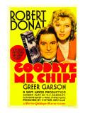 Goodbye, Mr. Chips, Robert Donat, Greer Garson on Midget Window Card, 1939 Photo