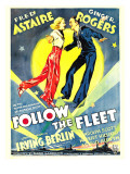 Follow the Fleet, Ginger Rogers, Fred Astaire on Window Card, 1936 Poster