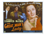 The Great Man's Lady, Brian Donlevy, Joel Mccrea, Barbara Stanwyck, 1942 Posters