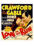 Love on the Run, Joan Crawford, Clark Gable on Window Card, 1936 Prints