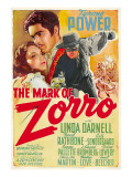 The Mark of Zorro, Linda Darnell, Tyrone Power on Argentinian Poster Art, 1940 Pósters