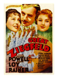 The Great Ziegfeld, Luise Rainer, William Powell, Myrna Loy on Midget Window Card, 1936 Prints