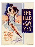 She Had to Say Yes, Lyle Talbot, Loretta Young on Midget Window Card, 1933 Posters