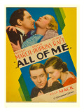 All of Me, Fredric March, Miriam Hopkins, George Raft, Helen Mack on Midget Window Card, 1934 Poster
