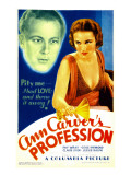 Ann Carver's Profession, Gene Raymond, Fay Wray on Midget Window Card, 1933 Prints