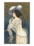 Woman in Lacy White Dress and Feathered Hat Posters