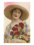 French Fashion, Woman in Straw Hat Poster